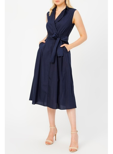 Random Kadın Düğme Detaylı Midi Boy Elbise  Lacivert
